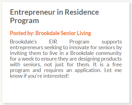 Brookdale Entrepreneur in Residence Program